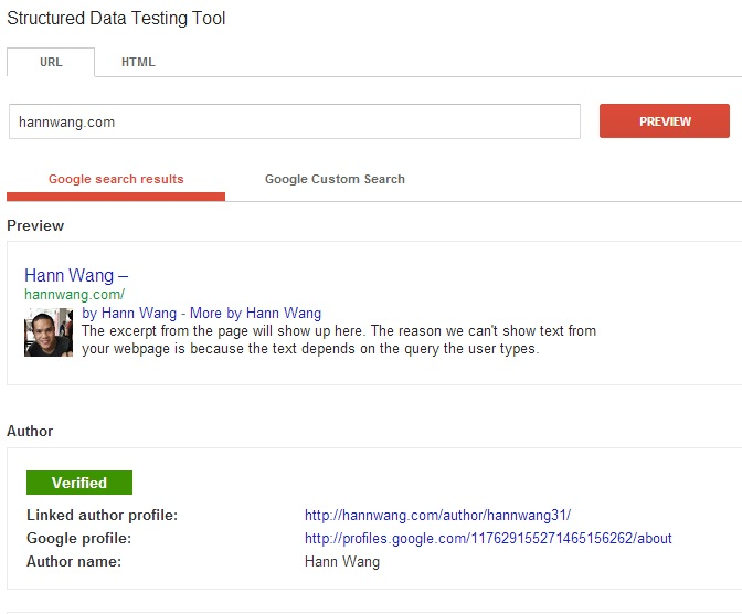 Google Authorship Testing Tool