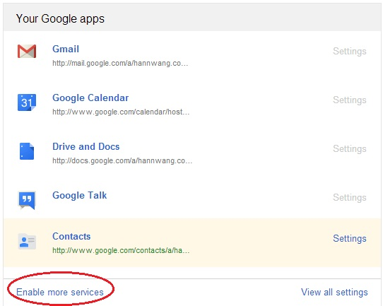 Google Enable Services