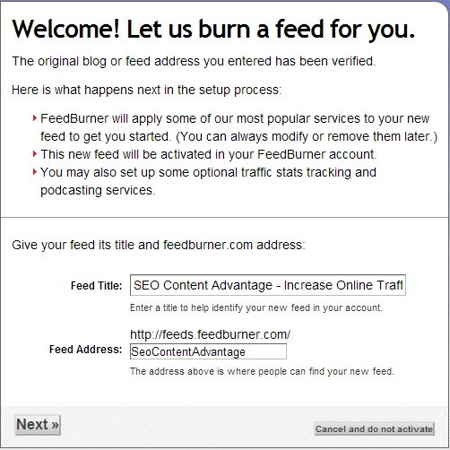 Google FeedBurner Welcome